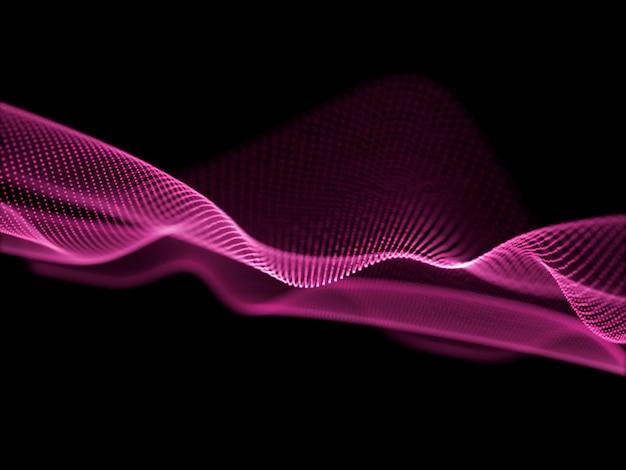 Fondo abstracto en 3d con partículas que fluyen y puntos cibernéticos. conexiones de red Foto gratis