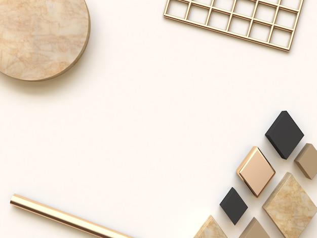 Fondo abstracto crema negro oro plano pone 3d renderizado Foto Premium