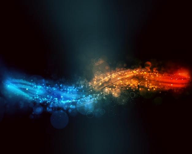 Fondo Abstracto Que Fluye En Tonos De Azul Y Rojo