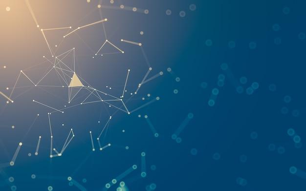 Fondo abstracto. tecnología de moléculas con formas poligonales, conectando puntos y líneas. Foto Premium