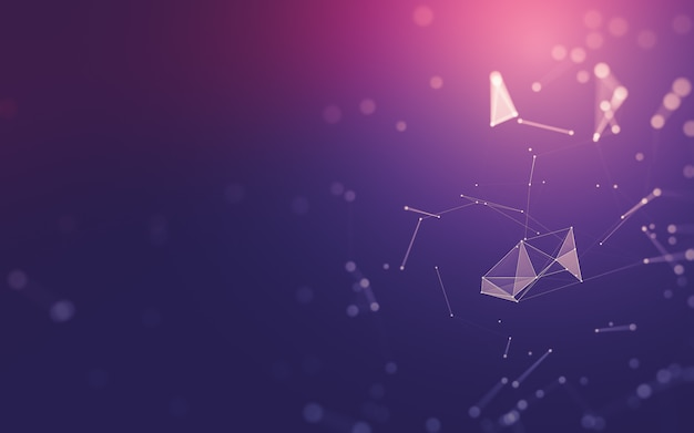 Fondo abstracto. tecnología de moléculas con formas poligonales, puntos y líneas de conexión. Foto Premium