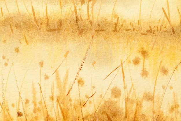 Fondo del arte abstracto amarillo claro y colores marrones. acuarela sobre lienzo con degradado dorado. Foto Premium