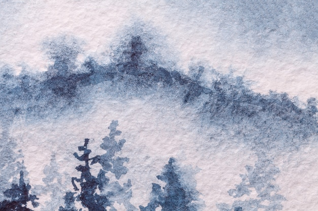Fondo de arte abstracto colores azul claro y blanco. pintura de acuarela sobre lienzo con suave degradado de denim. fragmento de obra de arte sobre papel con patrón de bosque de invierno. telón de fondo de textura, macro. Foto Premium