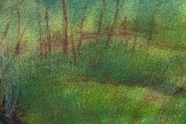Fondo de arte abstracto colores verde oscuro y marrón. pintura de acuarela sobre lienzo con suave degradado oliva. fragmento de obra de arte sobre papel con patrón de musgo. telón de fondo de textura. Foto Premium