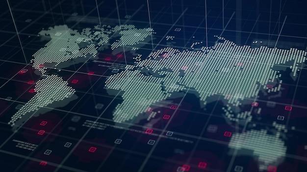 Fondo del azul del holograma del mapa de mundo de digitaces Foto gratis