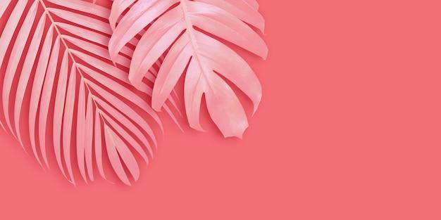 Fondo de banner de hojas tropicales con espacio de copia Foto Premium