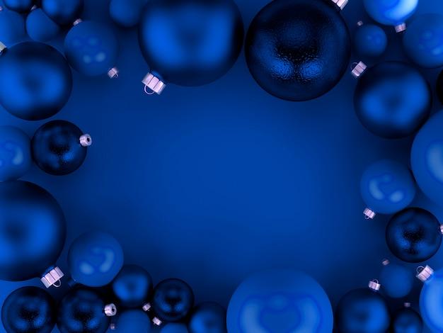 Fondo de bolas azules de navidad Foto Premium