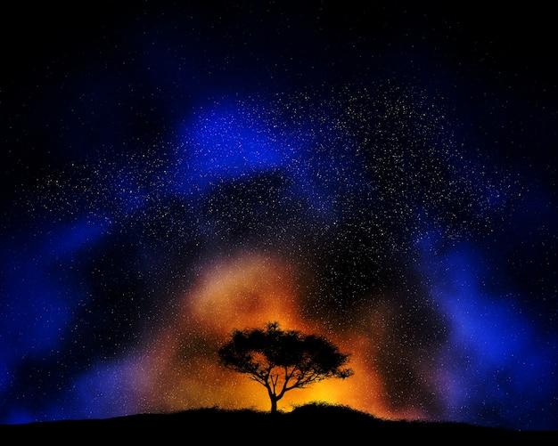Fondo De Cielo Nocturno De Colores Con Silueta De Paisaje De árbol