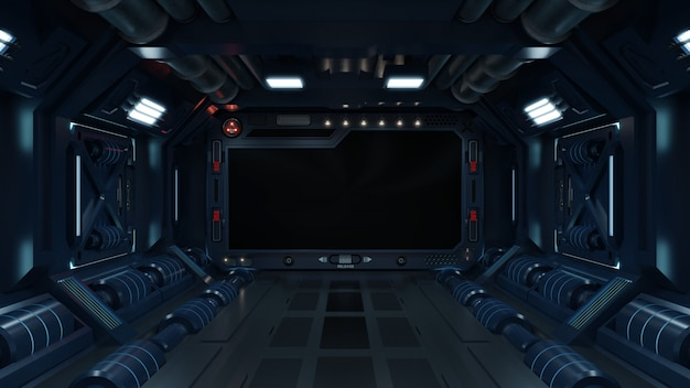 Fondo de ciencia ficción interior habitación ciencia ficción nave espacial corredores azul. Foto Premium