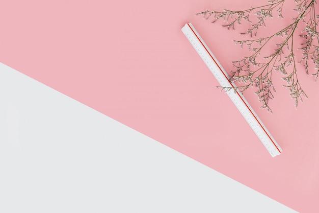 Fondo de color rosa y blanco con ramas de flores y regla de escala en el lado derecho. Foto Premium