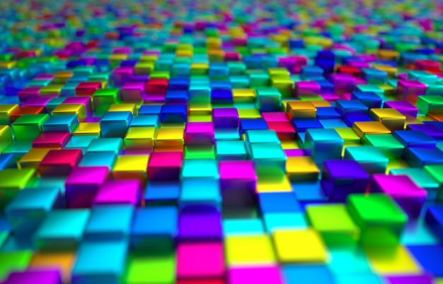 Fondo coloreado perspectiva del bloque metálico Foto Premium