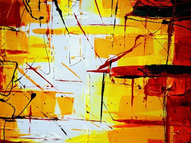Fondo colorido del extracto del drenaje de la mano de la pintura al óleo. Foto Premium