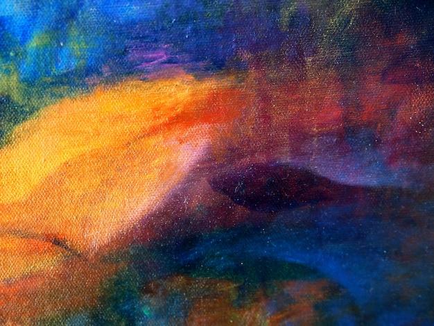 Fondo colorido del extracto de la pintura de aceite del drenaje de la mano. Foto Premium