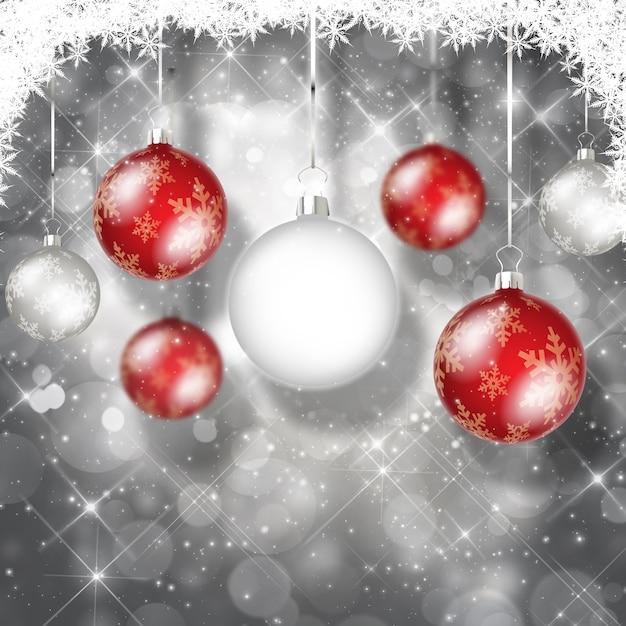 Fondo con bolas de navidad blancas y rojas descargar - Bola de navidad con foto ...