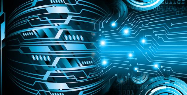 Fondo de concepto de tecnología futura de circuito azul cibernético Foto Premium