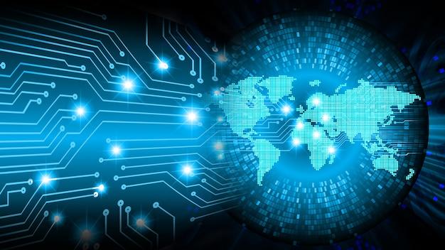 Fondo de concepto de tecnología futura de circuito azul mundo cibernético Foto Premium