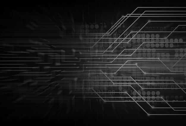 Fondo de concepto de tecnología futura del circuito cibernético negro Foto Premium