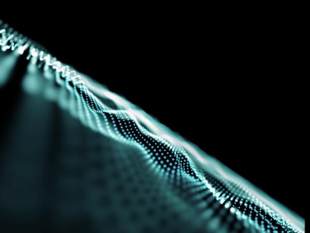 Fondo de conexiones abstractas 3d, puntos que fluyen con poca profundidad de campo Foto gratis