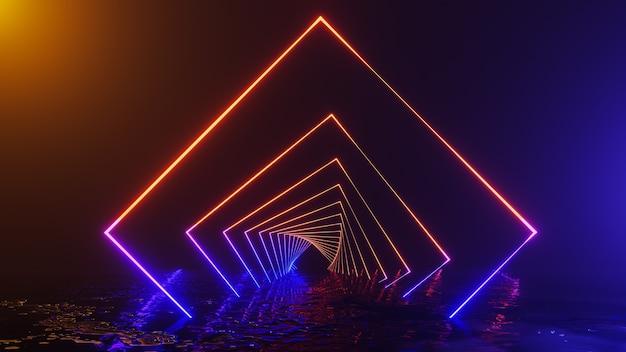 Fondo de corredor espacial y universo de fantasía, render 3d Foto Premium