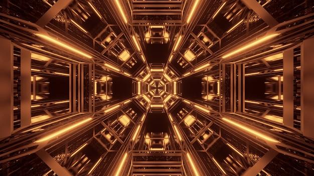 Fondo cósmico con luces láser negras y doradas Foto gratis