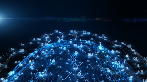Fondo de datos digitales de conectividad 5g. Foto Premium