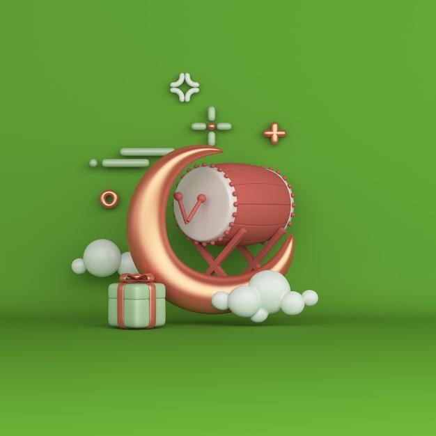 Fondo de decoración islámica con caja de regalo de media luna de tambor bedug Foto Premium