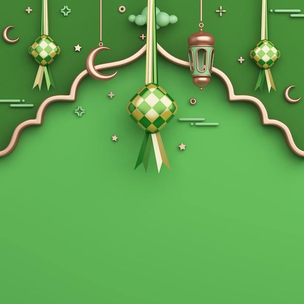 Fondo de decoración islámica con espacio de copia de media luna de linterna árabe ketupat Foto Premium
