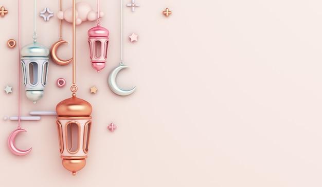 Fondo de decoración islámica con espacio de copia de media luna de linterna árabe Foto Premium
