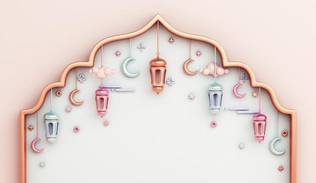 Fondo de decoración islámica con espacio de copia de media luna de linterna de marco de ventana árabe Foto Premium