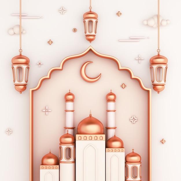Fondo de decoración islámica con linterna de ventana árabe de mezquita Foto Premium
