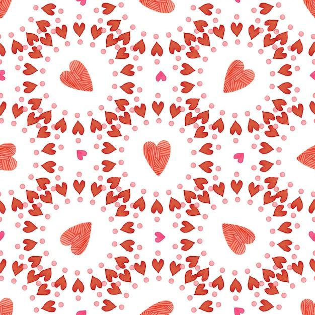 Fondo del día de san valentín acuarela corazones rojos de patrones sin fisuras. romántico Foto Premium