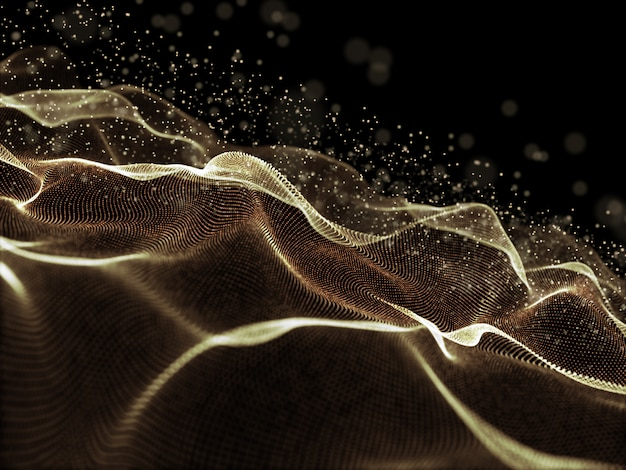 Fondo digital 3d con puntos cibernéticos dorados que fluyen Foto gratis