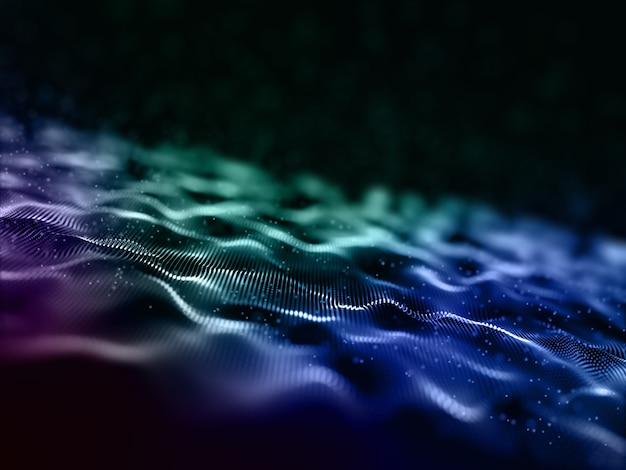 Fondo de diseño de ondas de partículas digitales abstractas 3d Foto gratis