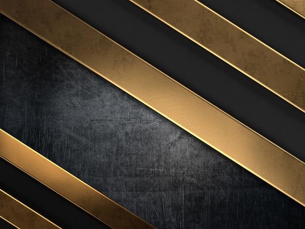 Fondo de estilo grunge con rayas de metal dorado Foto gratis