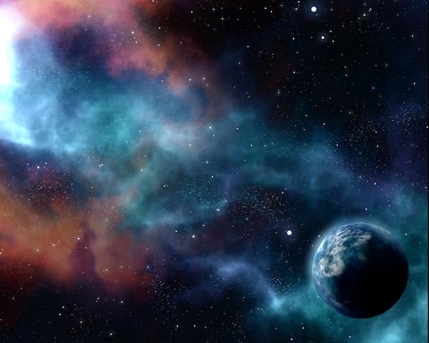 Fondo estrellado del cielo nocturno 3d con planeta abstracto y nebulosa Foto gratis