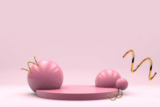 El fondo de etapa en colores pastel rosado del producto para el aviador 3d de la bandera rinde Foto Premium