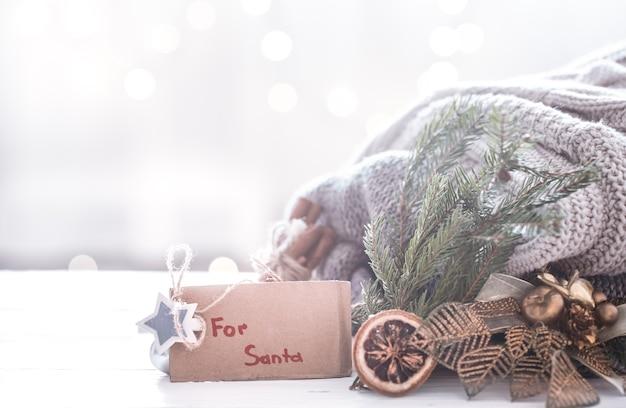 Fondo festivo de navidad con decoración festiva, concepto de navidad Foto gratis