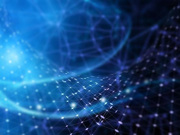 Fondo futurista 3d con líneas y puntos de conexión. Foto gratis