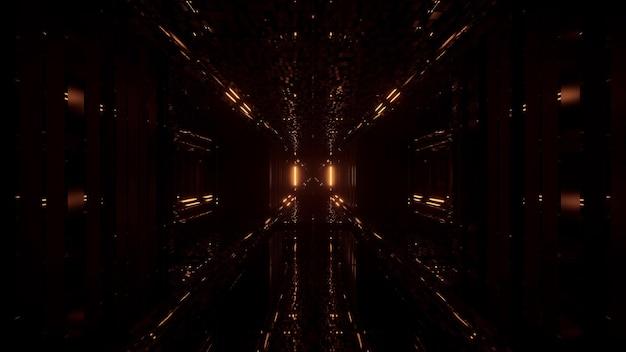 Fondo futurista fresco con luces doradas intermitentes Foto gratis