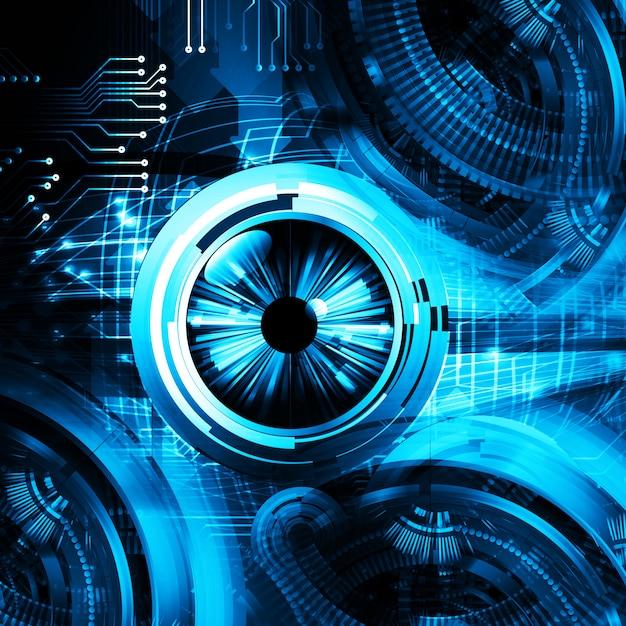 Fondo futuro del concepto de la tecnología del circuito cibernético del ojo azul Foto Premium
