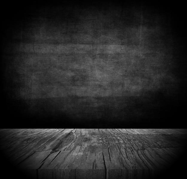 Fondo de grunge 3d con mesa de madera oscura Foto gratis