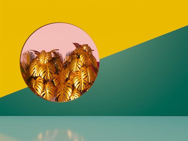 Fondo de hojas tropicales 3d. Foto Premium