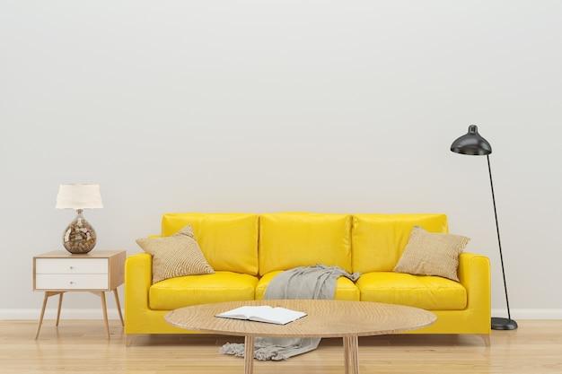 Fondo interior de sofá amarillo de pared blanca Foto Premium