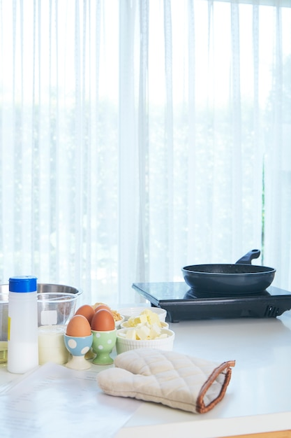Fondo de mesa en la cocina. | Foto Premium