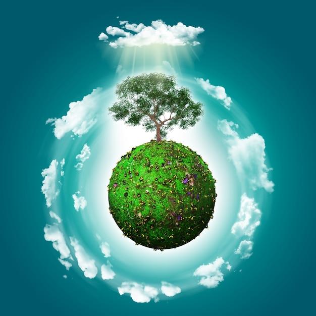 Fondo de mundo verde con un árbol Foto gratis