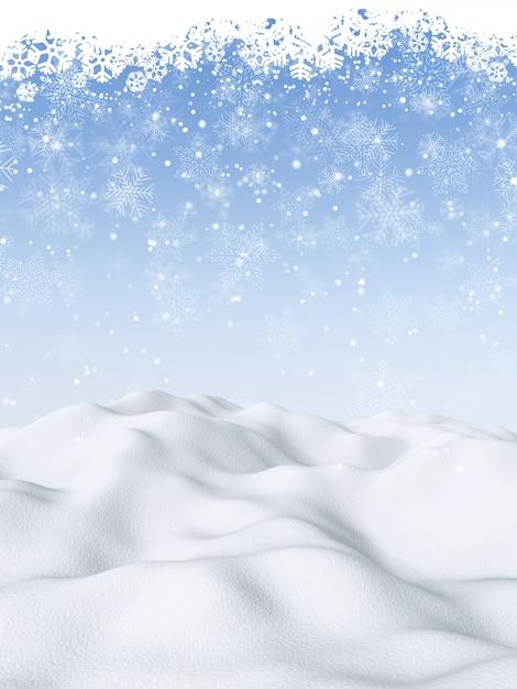 Fondo de navidad 3d con escena nevada Foto gratis