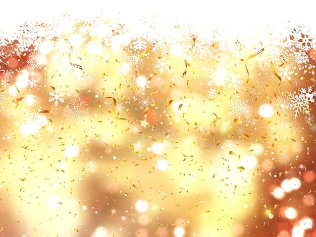 Fondo de navidad de copos de nieve cayendo y confeti Foto gratis