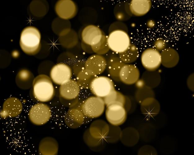 Fondo navideño de luces bokeh, estrellas y luces brillantes. Foto gratis