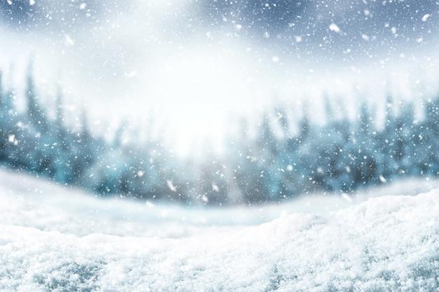 Fondo de nieve y arbol Foto Premium