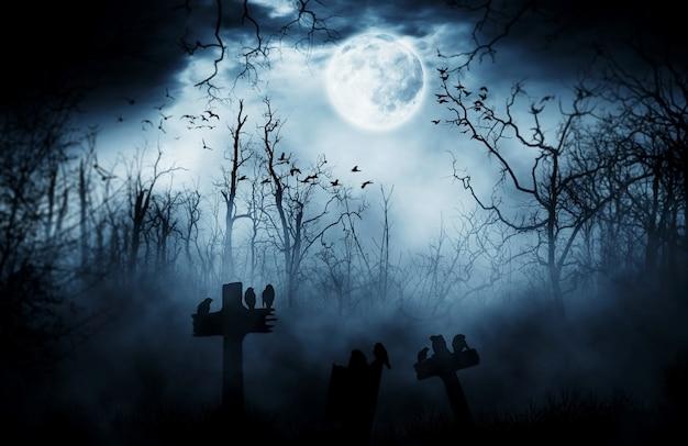 Fondo oscuro de la lápida de horrorhalloween Foto Premium